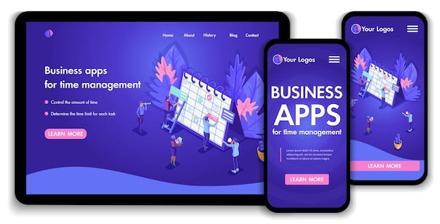 Landing page isometric concept business analysis, virtual technologies. website template design. easy to edit and customize, adaptiive ui ux.