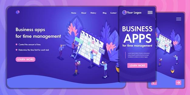 Целевая страница изометрическая концепция бизнес-анализа, виртуальных технологий. дизайн шаблона веб-сайта. легко редактировать и настраивать, адаптивность.