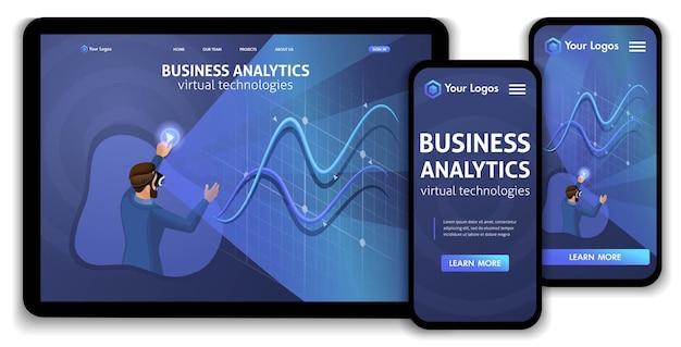 ランディングページアイソメトリックコンセプトビジネス分析、仮想テクノロジー。ウェブサイトのテンプレートデザイン。編集とカスタマイズが簡単なレスポンシブuiux。