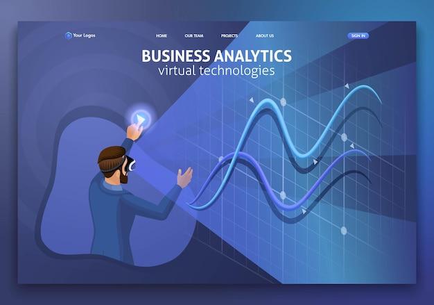 ランディングページアイソメトリックコンセプトビジネス分析、仮想テクノロジー。ウェブサイトのテンプレートデザイン。編集とカスタマイズが簡単です。