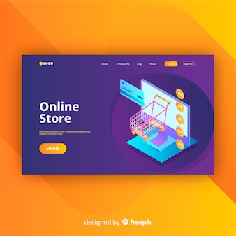 Landing page in isometric style of online store