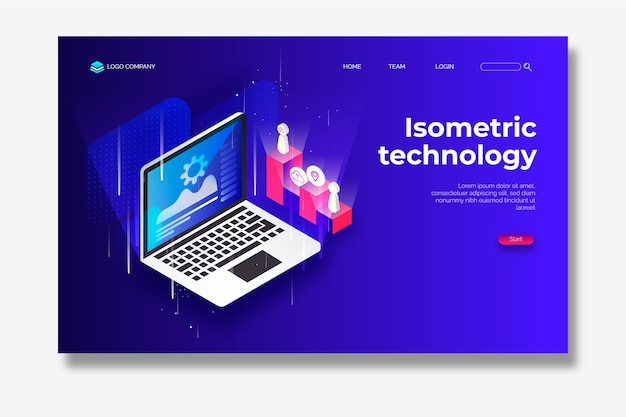 Landing page isometric technology