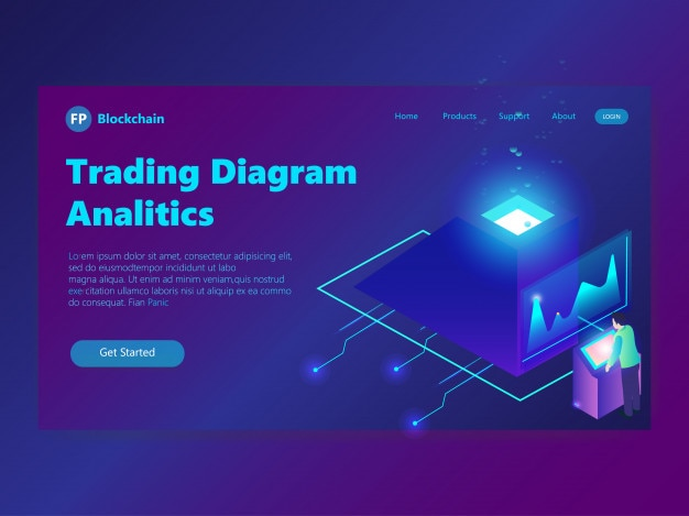 Landing page isometric trading concept