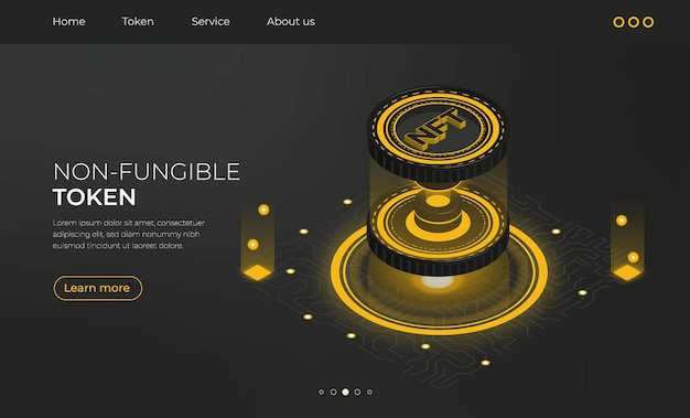 Landing page isomtetric non fungible token