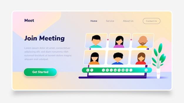 Landing page  join meeting laptop