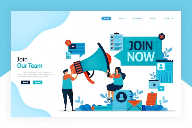 Landing page of join now