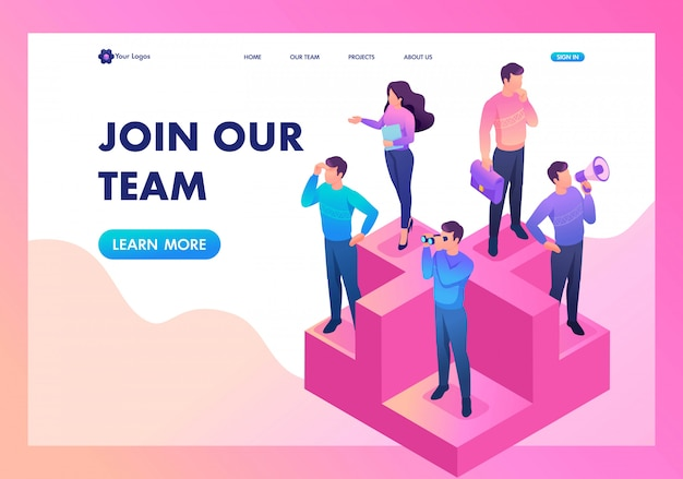 Landing page of join our team, we need professionals