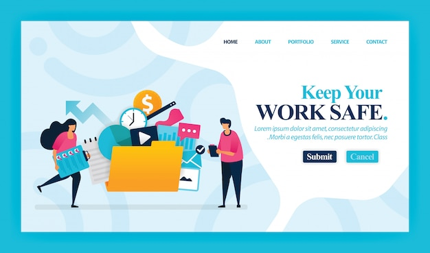 Landing page of keep your work safe.