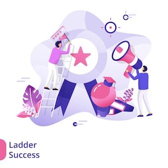 Landing page ladder success illustration concept