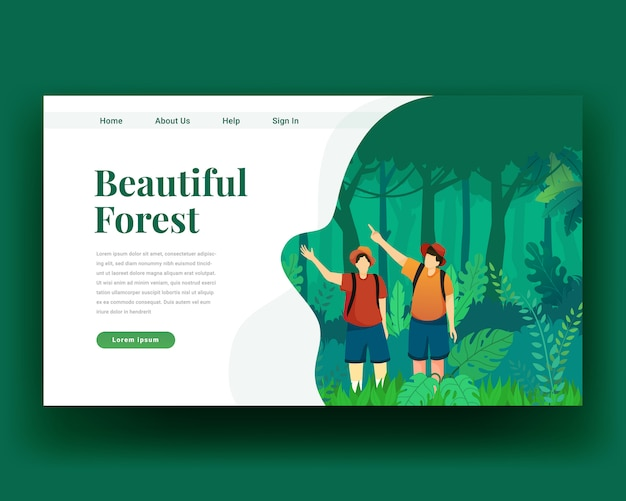 Landing page landing page of two character walk in the forest with backpack