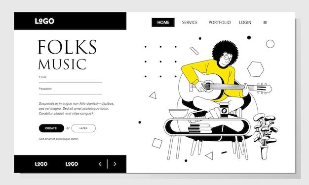 Целевая страница линии искусства векторные иллюстрации человека с афро-волосами, играющего на гитаре