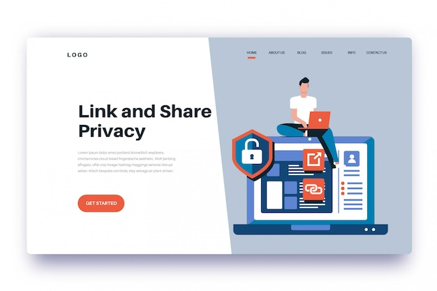Landing page link and share privacy