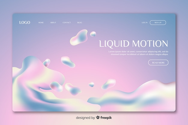 Landing page liquid motion design