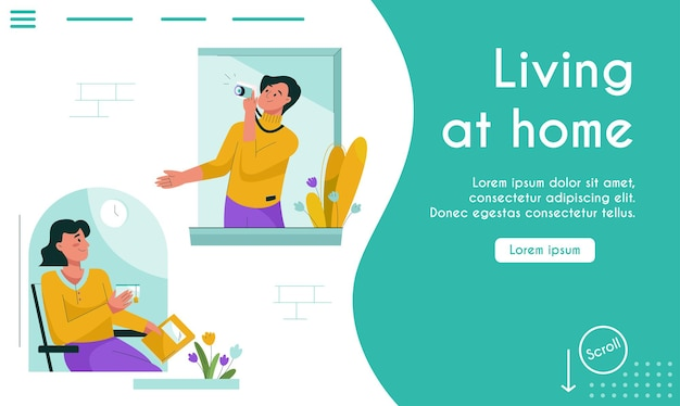Landing page of living at home concept