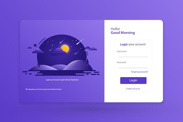 Landing page login form template design