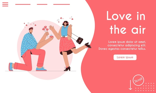 Landing page of love is in the air concept