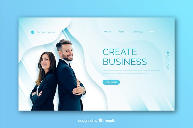 Landing page made for business with photo template