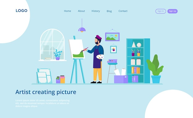 Landing page of male artist creating picture concept with inscription