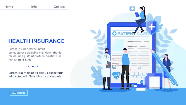 Landing page. male doctor man patient card woman with pen sign health insurance