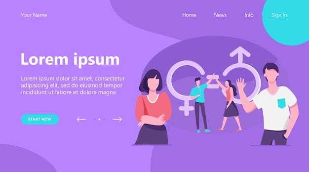 ランディングページ、ハイファイブを与える男女。性別記号と等号の男性と女性のキャラクター。平等、差別、多様性の概念のベクトル図