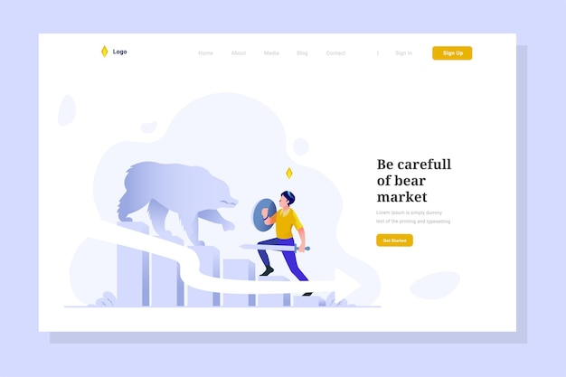 Landing page man attacked bear profit loss and financial down character flat design ilustration