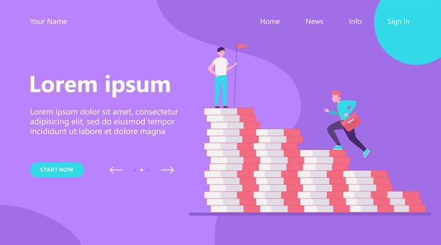Landing page, man climbing on money bar chart. his colleague standing on top with flag flat vector illustration. finance, success, leader concept