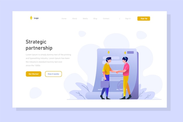 Landing page man make agreement and shake hand sign people character flat design illustration