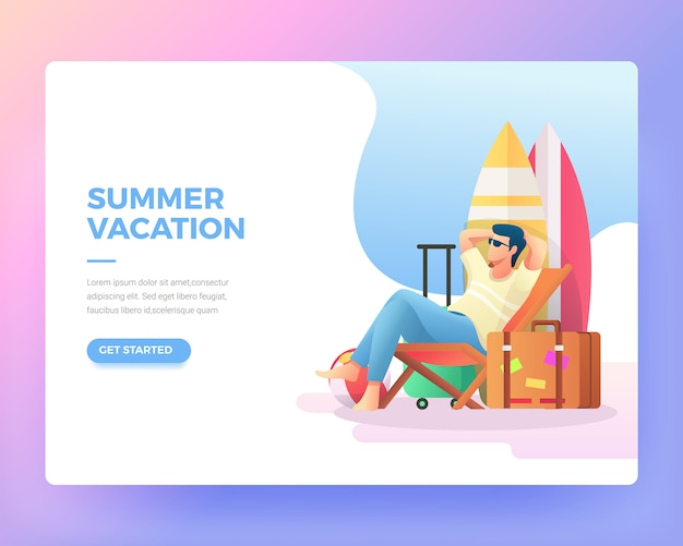 Landing page of a man who is relaxing on the beach