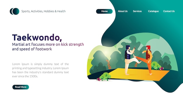 Landing page of martial art focuses on kick strength and speed of foot