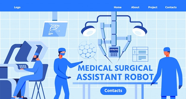 Landing page for medical surgical assistant robot