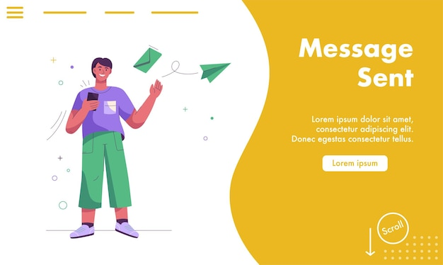 Landing page of message sent concept