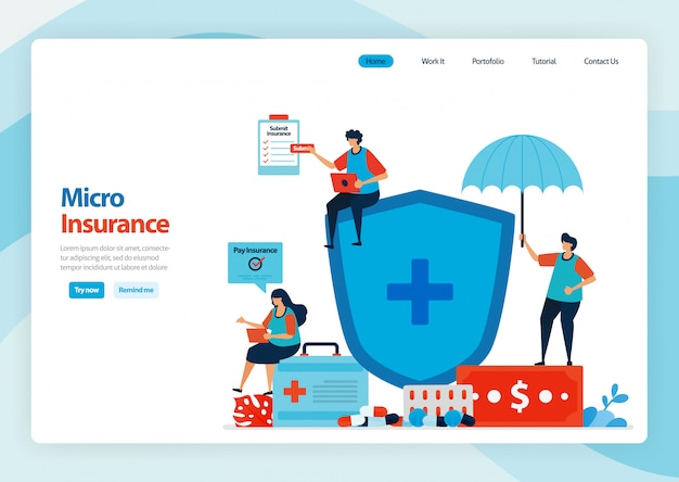 Landing page of micro financial insurance and low cost health protection.