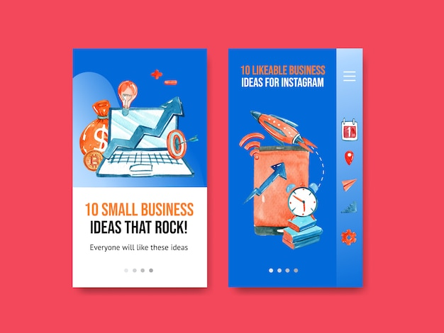 Landing page mobile design with rocket, laptop, book watercolor illustration.