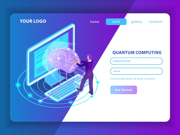 Landing page mockup for deep learning of information  in field of artificial intelligence and quantum computing isometric