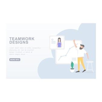 リンク先のページチームとのウェブサイトの現代的なコンセプト