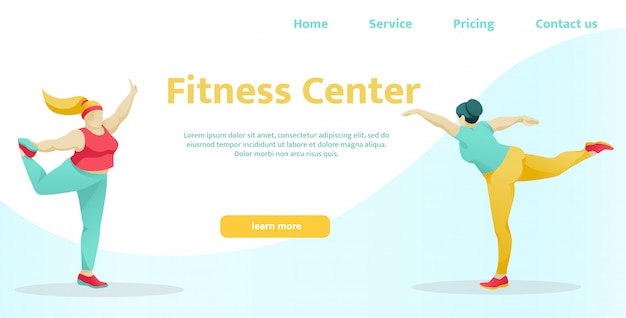 Landing page for modern fitness center sport club
