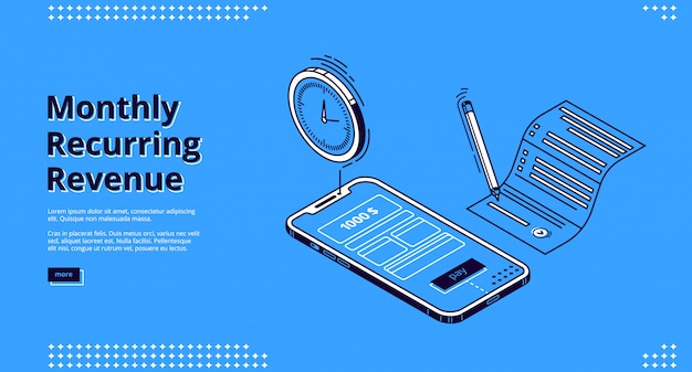 Landing page of monthly recurring revenue