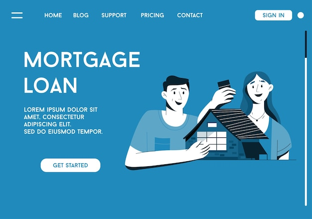 Landing page of mortgage loan concept