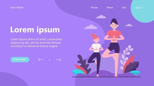 Целевая страница, мать и дочь делают фитнес на открытом воздухе плоские векторные иллюстрации. герои мультфильмов тренируют здоровые упражнения в парке. концепция спортивной тренировки и отдыха