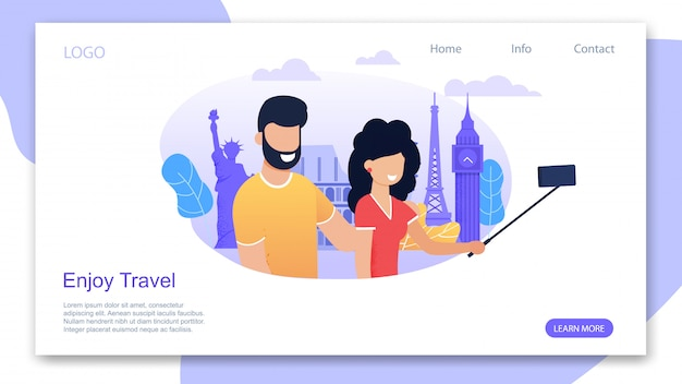 Landing page motivating to enjoy travel and summer time vacation