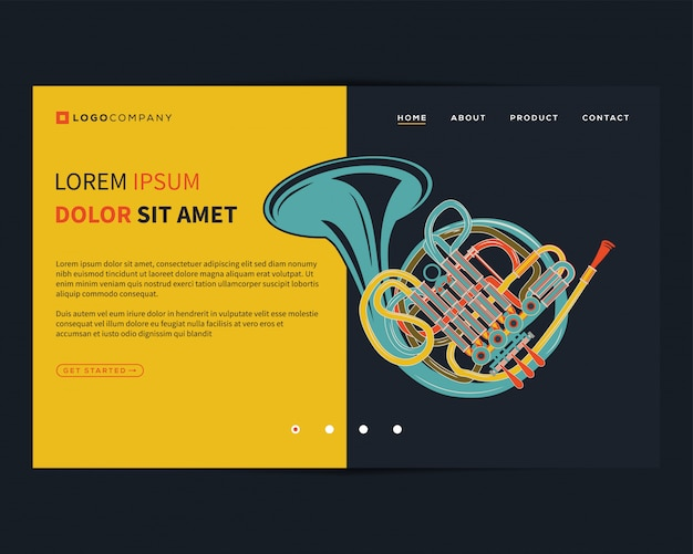 Landing page of music concepts for website and mobile development