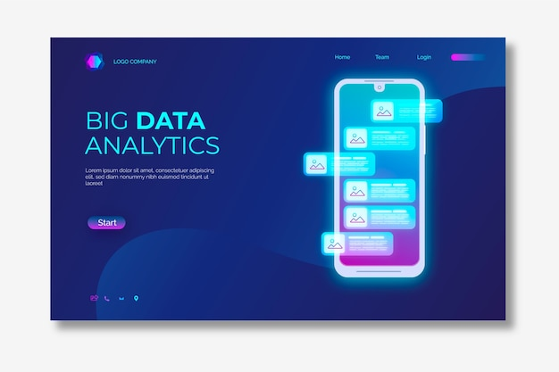 Landing page neon with smartphone