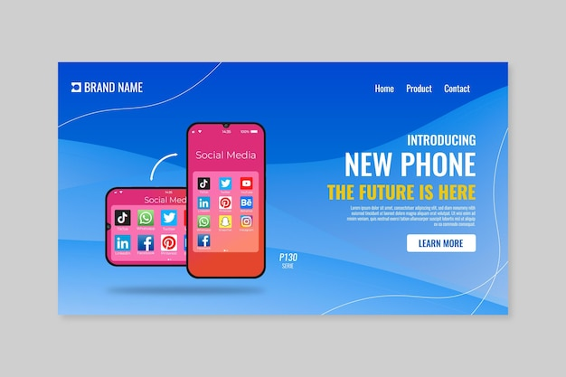 Landing page for new phone