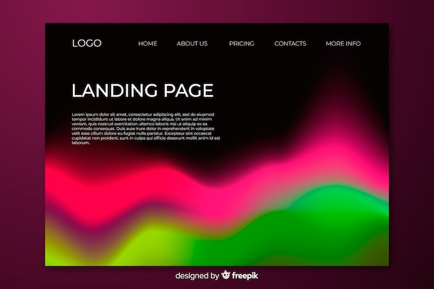 Landing page northern lights design