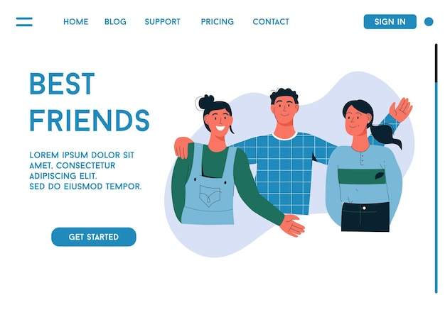 Целевая страница концепции лучших друзей
