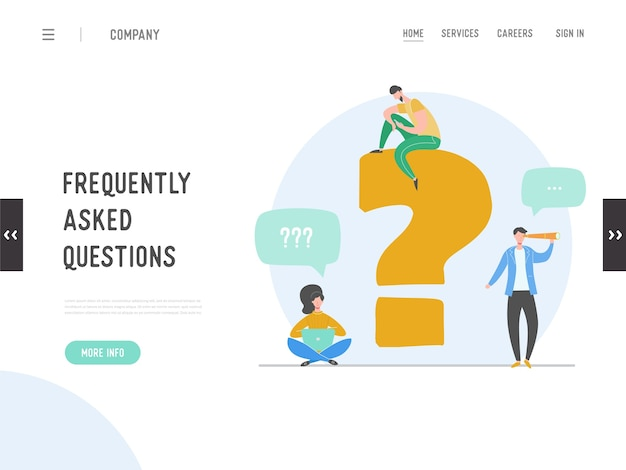 よくある質問のコンセプトのランディングページ。質問の答えのメタファー。バックグラウンド。フラットの漫画のキャラクターの人々のグラフィックデザイン。テンプレートバナー、チラシ、ポスター、webページ