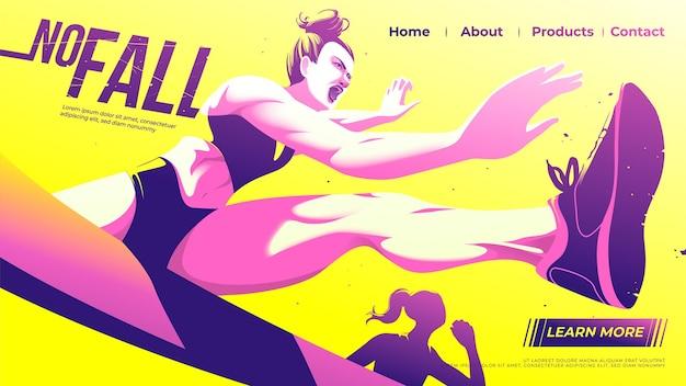 Целевая страница бега с препятствиями спортсменок решительно прыгает через препятствие в игре.