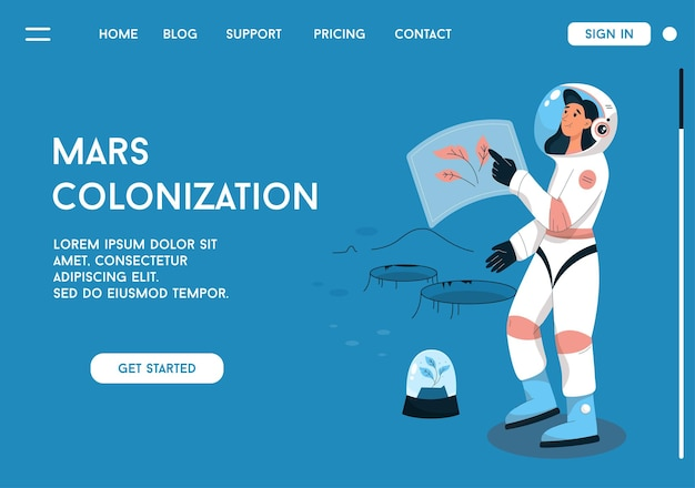 火星の植民地化の概念のランディングページ