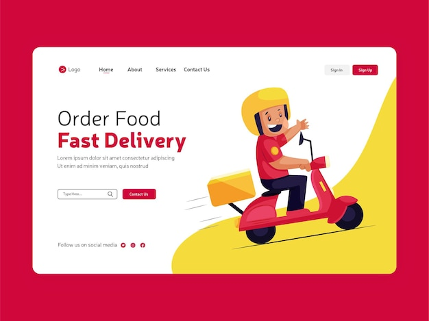 Целевая страница заказа еды онлайн для дизайна шаблона быстрой доставки