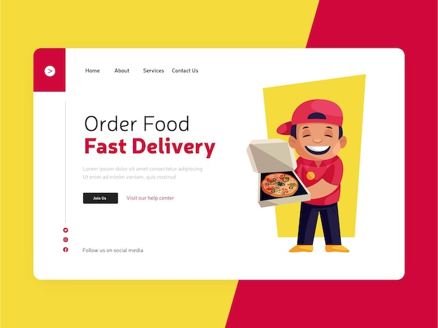 Целевая страница заказа еды онлайн для быстрой доставки